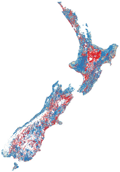 Predicted fish observed/expected ratio throughout New Zealand.
