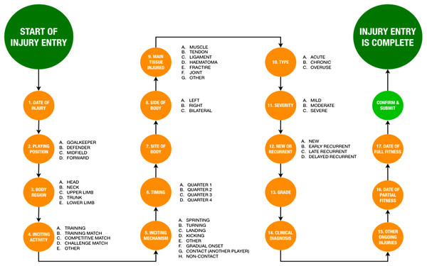 Data entry pathway for registering a time-loss injury.
