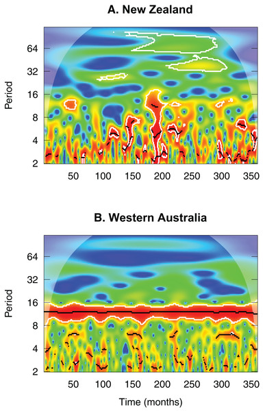 Wavelet diagram comparing 30-year monthly rainfall values between central North Island New Zealand (A) and Mediterranean-climate Western Australia (B).