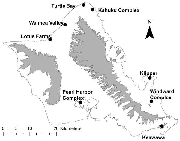 Map of study site (O'ahu, Hawai'i), highlighting locations of modeled populations of Hawaiian gallinules.