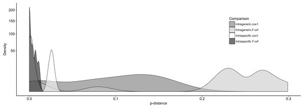 The distribution of pair-wise p-distance scores for f-orf and cox1 genes within Ambleminae.