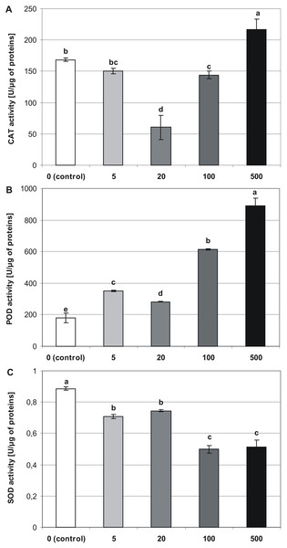 Effects of MEL on antioxidant enzymes activity in four-week-old plantlets.