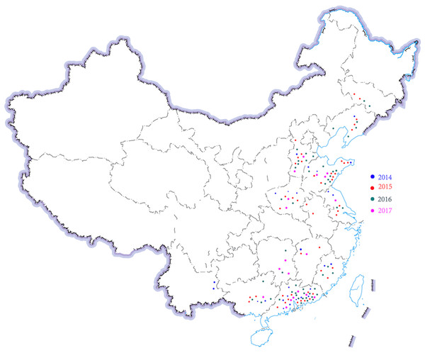 Region distribution of 143 H. parasuis strains in China from 2014 to 2017.