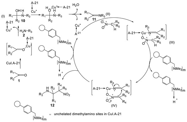 A possible mechanism for the synthesis of β-nitroamine 12 by means of CuI.A-21 catalyst.