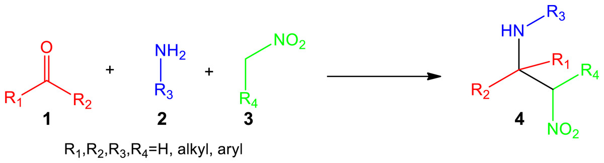 One-pot multicomponent nitro-Mannich reaction using a