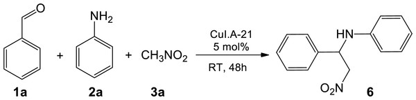One-pot sequential multicomponent nitro-Mannich reaction between benzaldehyde 1a, aniline 2a, and nitromethane 3a to form β-nitroamine product 6.