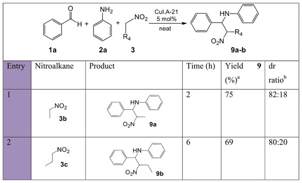 Substrate scope with various nitroalkanes for the synthesis of β-nitroamines 9a-b.
