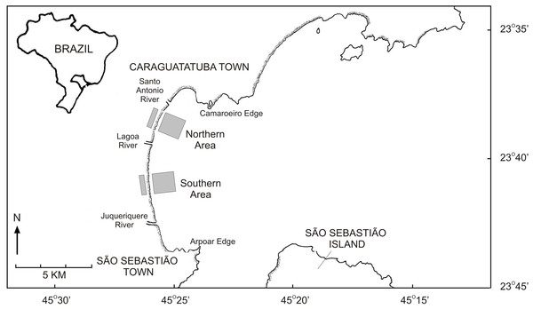 Map of the Caraguatatuba Bay, southeastern Brazil.