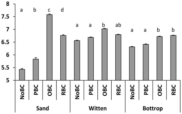 pH values of sand and soil samples with different biochar treatment.