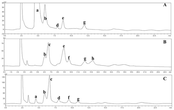 HPLC chromatograms of the IMOs from different sources.