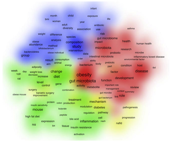 Density map of the most frequently encountered terms extracted from the titles and abstracts of retrieved publications.