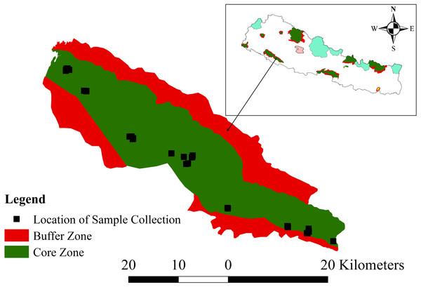 Map of the study area, Banke National Park, showing the core and buffer zones and the locations of sample collection.