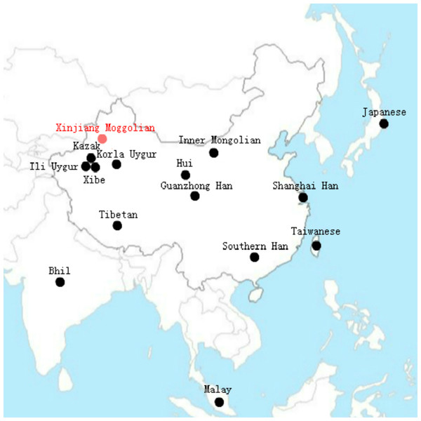 The geographical distribution of the 15 Asian populations.