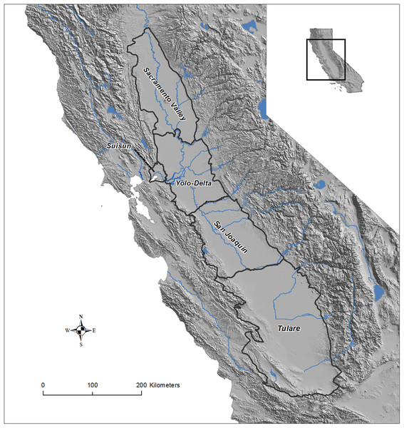 Map of the Central Valley study area in California, USA.