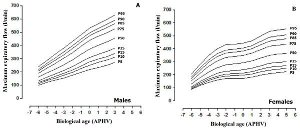 Smoothed reference curves calculated by the LMS method to assess the maximum expiratory flow (MEF) based on biological age (APHV) and sex. (A) Males; (B) Females.