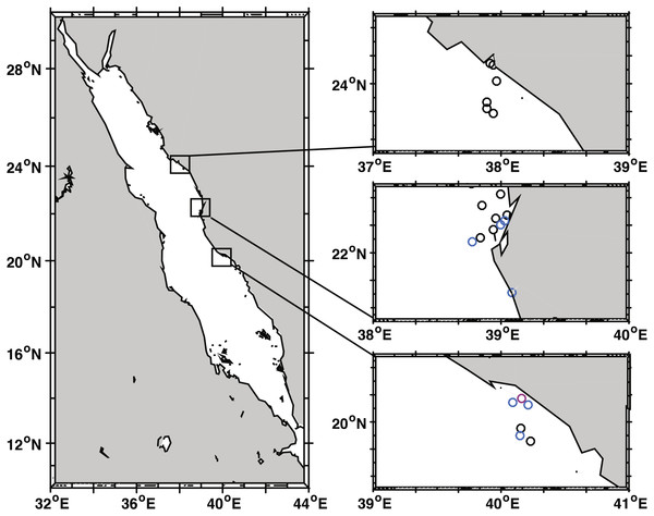 Black band disease survey locations of 22 reef sites along the central Red Sea coast of Saudi Arabia.