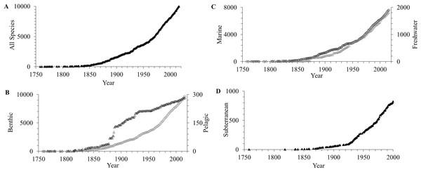 Accumulation curves of amphipod species described per year.