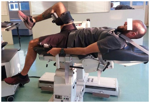 Positioning assumed by the participant during isokinetic evaluation of the hip.