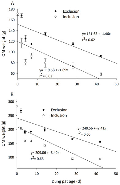 Degradation rate of organic matter content (mean ± SEM) in cattle dung pats.