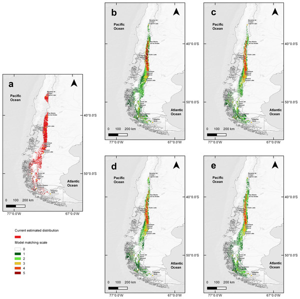 MaxEnt outcomes, current suitable habitat distribution and two projections scenarios of climate change.