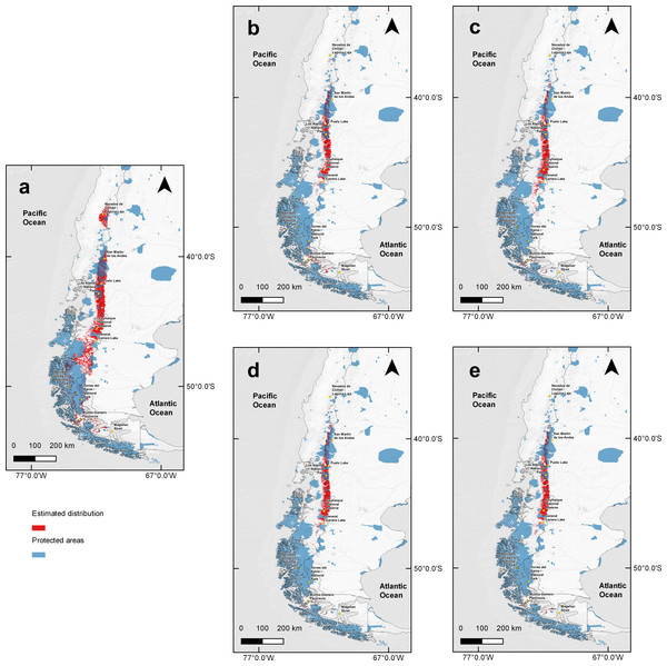 Binary map overlap with protected areas of Chile and Argentina, current and two projections of climate change.