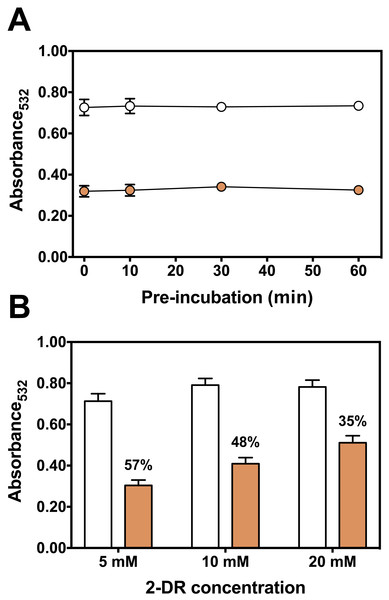Effect of pre-incubation time and 2-DR concentration on antioxidant activity of persimmon extract in 2-DR oxidation assays.
