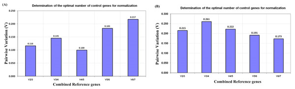geNorm pairwise variation (V) analysis to determine minimum number of candidate reference genes required for normalization in qRT-PCR of R. apiculata (A) Pairwise variation analysis for physiological tissue samples (B) Pairwise variation analyzed for salt stress leaf samples.