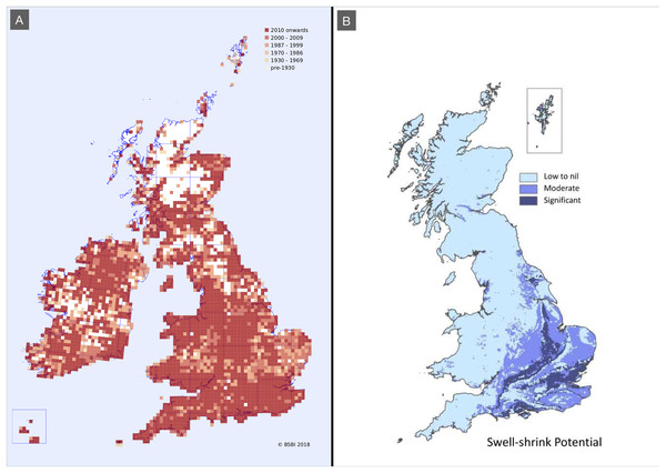 Distributions maps showing F. japonica records and soil shrink-swell potential.
