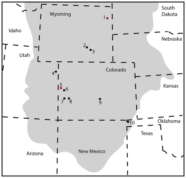 Map of occurrences of Brachiosauridae in the Upper Jurassic Morrison Formation.