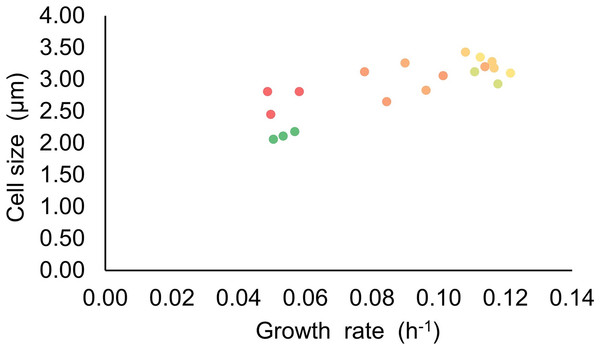 Relationship of the cell size and growth rate of Synechocystis set at different light intensities.