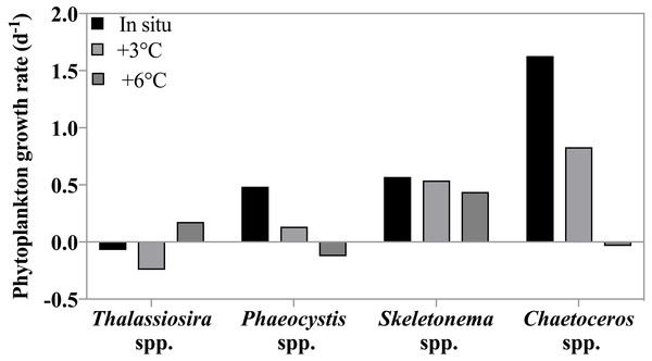 Phytoplankton growth rates as a function of incubation temperature.