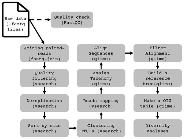 Flowchart demonstrating the 16S rRNA profiling data analysis pipeline on Windows (WSL).