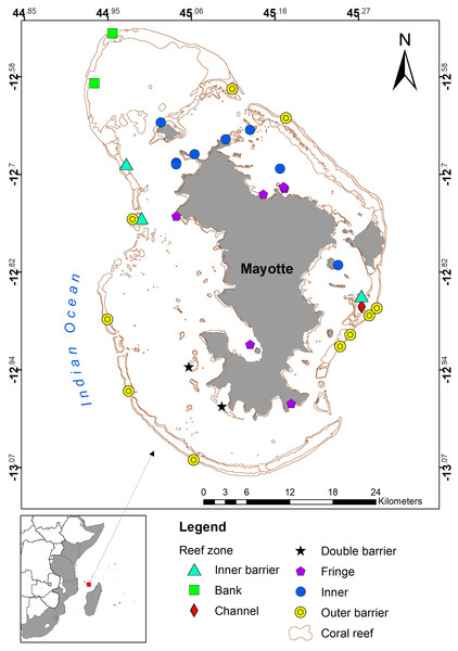 Map of Mayotte, showing the reef and lagoon structure, and sampling sites coded by reef zone (UNEP-WCMC, 2010).