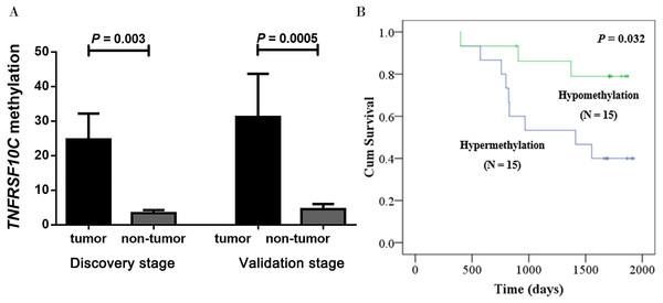 Hypermethylation of TNFRSF10C and its prognostic value.