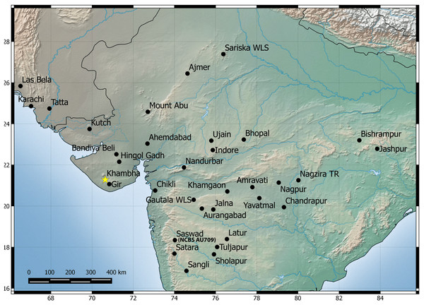 Map showing known distribution of H. sahgali sp. nov. based on examine specimens and photographic records.