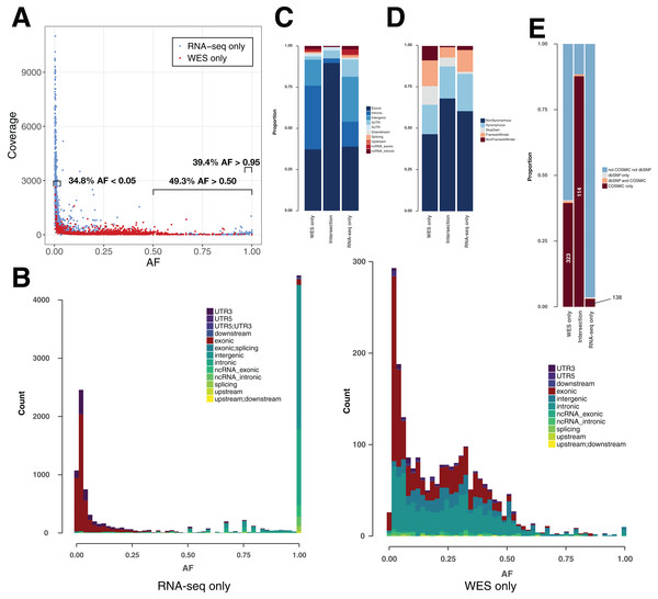 Variant features including allele fraction, coverage, genomic location and COSMIC/dbSNP content in TCGA samples.