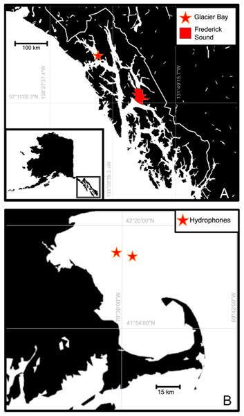 Map of (A) Southeast Alaska, North Pacific recording locations and (B) Massachusetts Bay, North Atlantic recording locations.