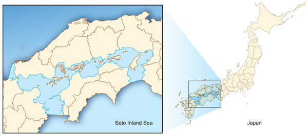 Location of Seto Inland Sea, Japan.