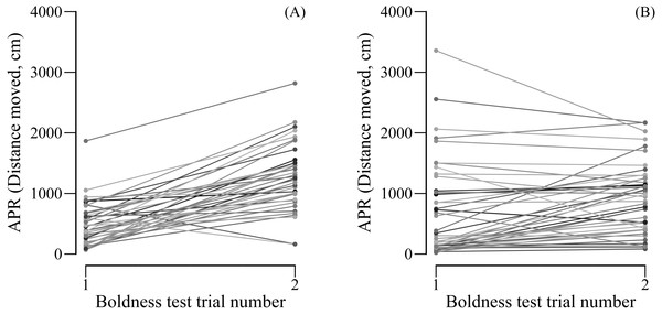 (A) Male and (B) female APR (activity under simulated predation risk) over two boldness tests.