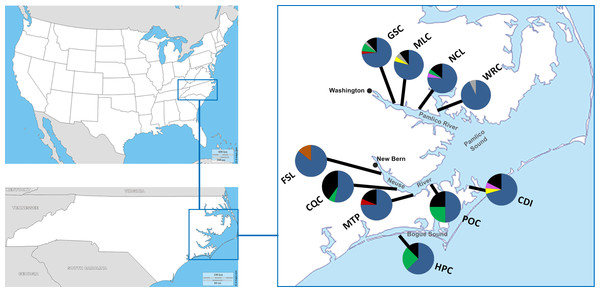 Sample locations and their associated haplotype frequencies.