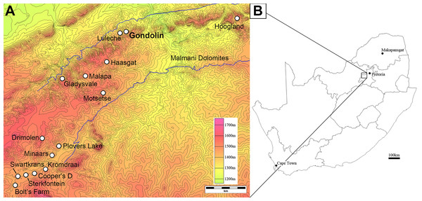 Topographic map of the UNESCO Fossil Hominids of South Africa World Heritage Site region (A) in reference to a provincial map of South Africa (B).