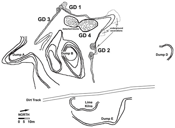 Site plan of the modern Gondolin cave, including the location of the in situ sediment remnants (GD 1–GD 4) and the location of Dump A deposits sampled to produce the GD A assemblage.