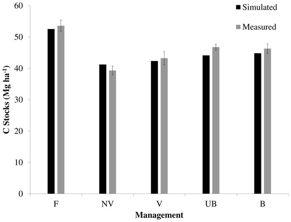 Simulated and measured results for soil C stock (0–20 cm) under different sugarcane management systems and native vegetation.