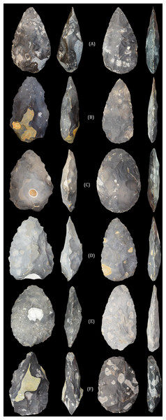 The 'early Acheulean' and 'late Acheulean' handaxes produced by knappers 6 (A), 9 (B), 5 (C), 4 (D), 3 (E) and 2 (F).