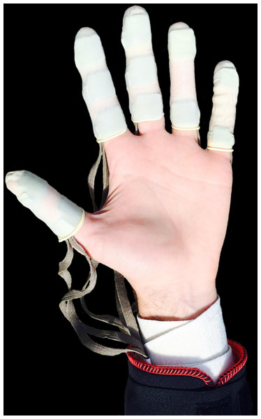 The Novel Pliance® pressure system attached to the hand of knapper #1.