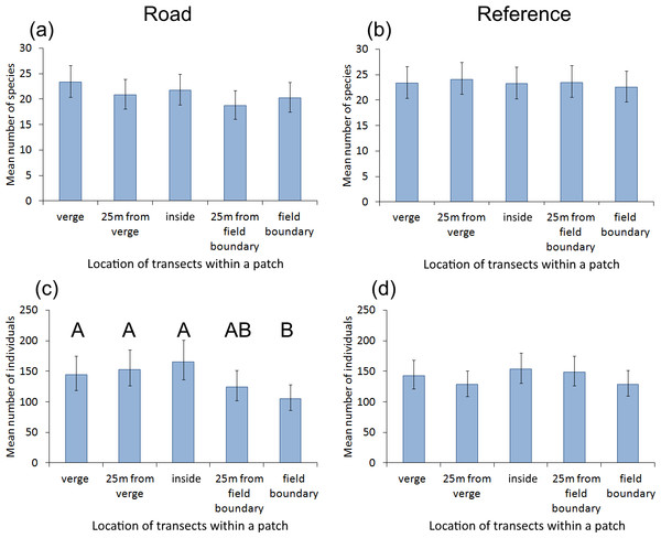 The impact of transect location within a grassland patch on the number of butterfly species and individuals.
