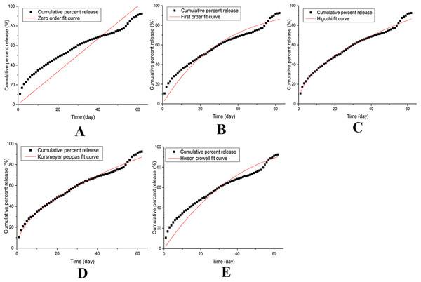 Models of release kinetics of IVM bolus in dissolution medium.