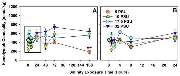 Hemolymph osmolality of H. sanguineus after 7 days of exposure to different salinities.