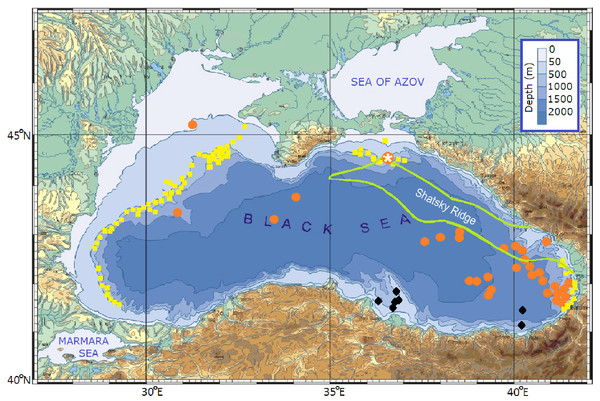 The Black Sea bottom topography and composite map of areas, where the presence gas and oil was revealed (modified from Korotenko (2016)).