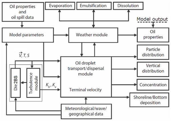 Schematic of principal elements of the deepwater oil spill model (modified from Korotenko (2016)).